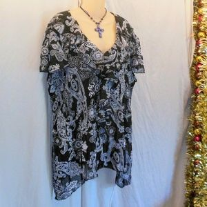 The Avenue Sharkbite Paisley Blouse Sz 22/24 NWOT